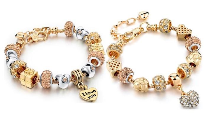 9a20f8a25 Pandora Inspired 18K Gold Plated 'I Love You' Charm Bracelet -2 ...