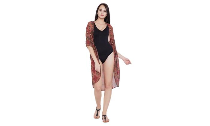 3cc9a61b6a31 Women Canyon Rose Floral Polyester Kimono Beach Dress Bikini Cover Ups ...