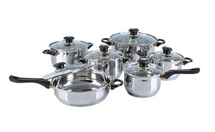 Brand new alpine cuisine 12pc stainless steel jumbo size for Alpine cuisine cookware set