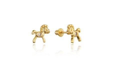 14k Gold Plated Brass Horse Childrens Screwback Girls Earrings