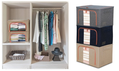 Steel Frame Storage Box Oxford Cloth Folding Wardrobe Fabric Extra Large Bag