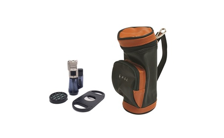 Golf Bag Gift Set Humidor Humidifier Triple Torch Lighter Cutter b38315e7-56de-4133-bc34-b13d54abc7b7