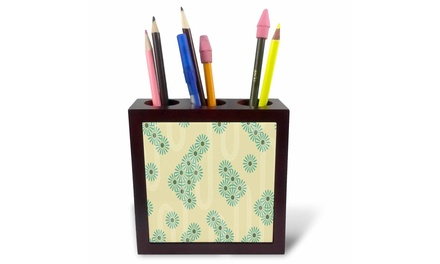 Tile Pen Holder - Contemporary Aqua Flower Clusters Pattern - 5-inches