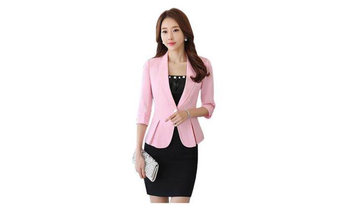 Women's Slim Fit Overalls Office Skirt Suit Sets