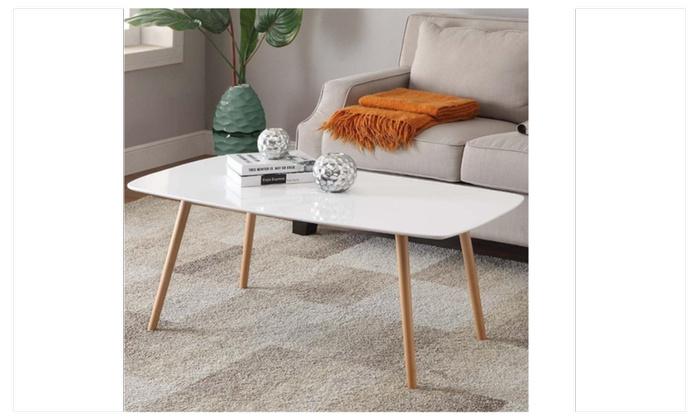 Charmant ... Topeakmart Modern Pine Coffee Table White Gloss Wood Legs Living Room  ...
