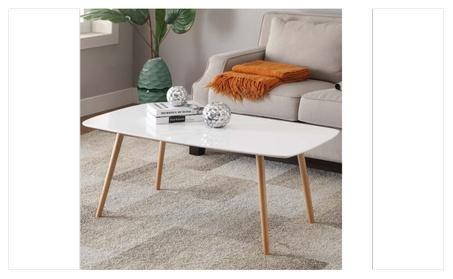 Modern Pine Coffee Table White Gloss Table Top Wood Legs Living Room a561bae0-8948-437e-ade3-22dd2181d332