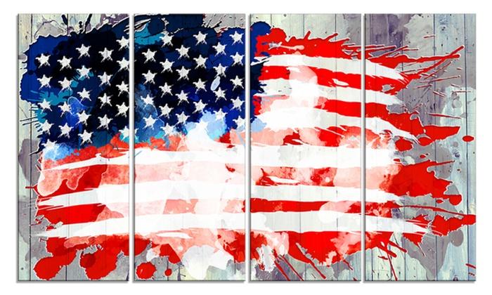 Abstract US Flag Metal Wall Art 48x28 4 Panels