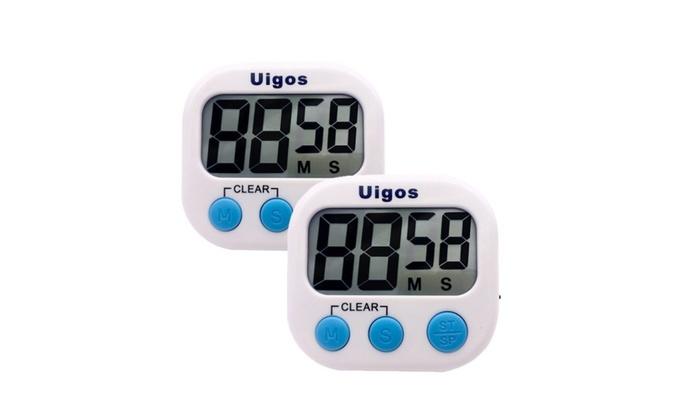 Uigos 2 Pack Digital Kitchen Timer II 2.0 , Big Digits, Loud Alarm
