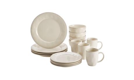Rachael Ray Cucina Dinnerware 16pc Stoneware Dinnerware Ricotta White 1acd7780-4be6-4cd3-848e-eeebba7edee5