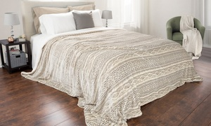 Lavish Home Reversible Flannel and Sherpa Blanket