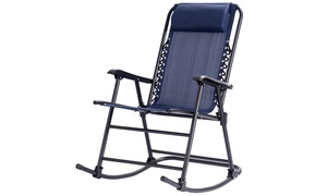 Costway Folding Zero Gravity Rocking Chair Rocker Porch Patio Headrest