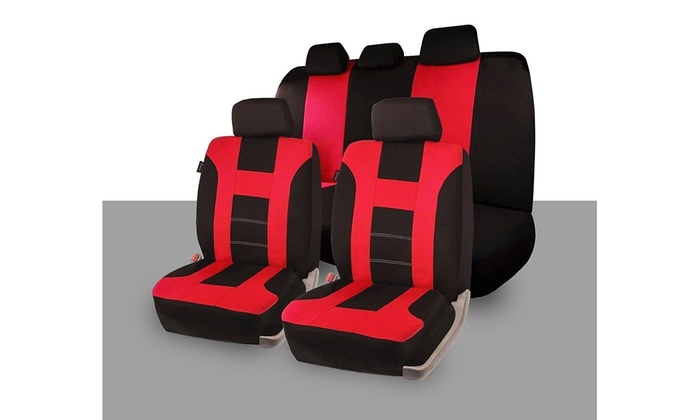 Zone Tech Full Set Red Blue Beige Black Car Seat Covers Racing Style