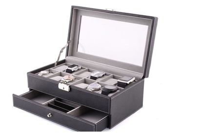 Super AW-001 Leather 12 Mens Watch Box+Jewelry Display Drawer Watch ff910731-4311-4cb1-8ac8-d82f76c73fde