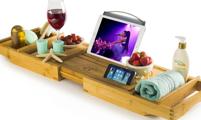 Up To 20% Off on Bambusi Bathtub Caddy Tray wi... | Groupon Goods