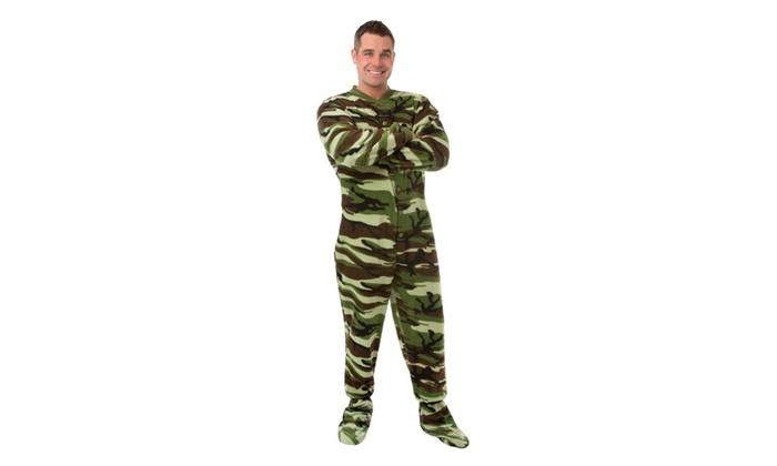 Camouflage Micro-Polar Fleece Adult Footed Pajamas