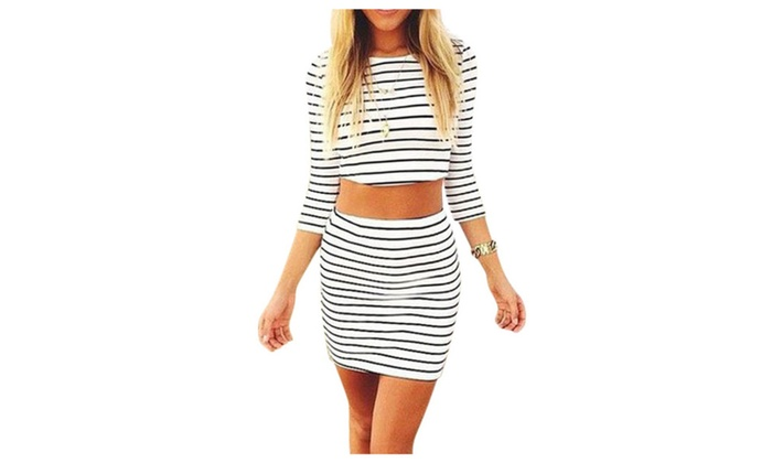Fashion Stripe Crop Top And Mini Skirt Two Piece Outfit