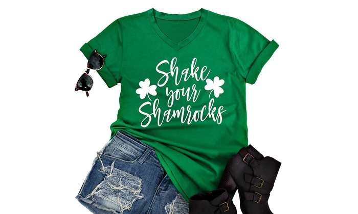 b1ab6724059 Women s St. Patrick s Day Shake Your Shamrocks Funny Irish T-Shirt ...
