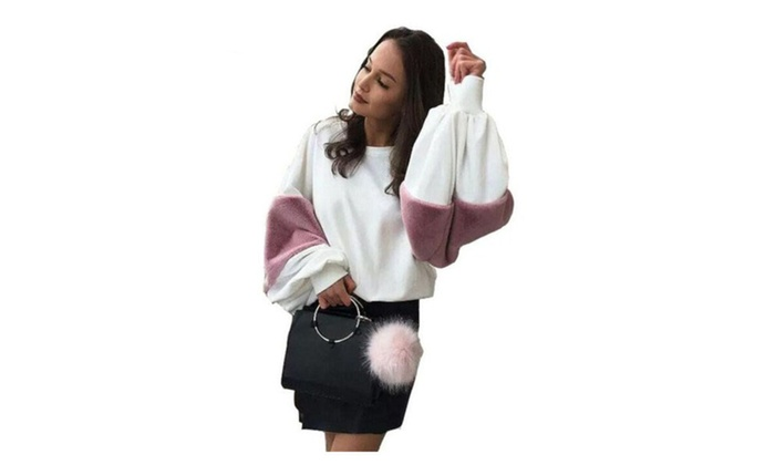 Women Casual Rabbit Fur Hoodies Shirt Patchwork O Neck Pullovers