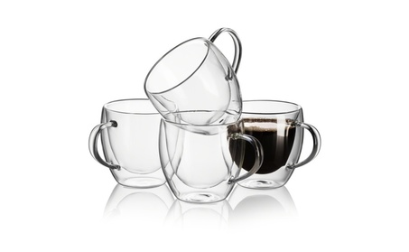 Set of 4 Clear Glass Double Wall Coffee Mug Tea Cups Espresso Cup 8 oz 96cc7bf3-e445-4a1a-b850-5e2281f893e8