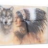 Indian Warrior with Two Wolves Animal Metal Wall Art 28x12