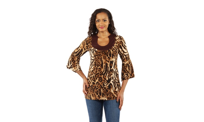 Lovely Leopard Print Tunic Top