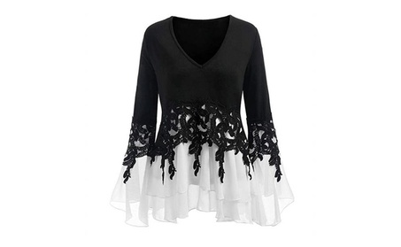 Womens Printed Flare Sleeve Tops Blouses T-Shirts