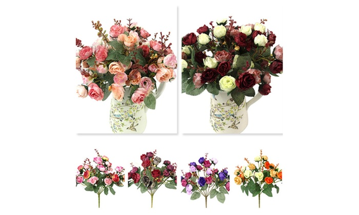 1 Bouquet 21 Head Artificial Rose Silk Flower Leaf Home Wedding