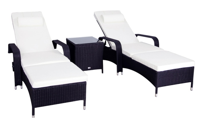 kinbor 3pcs patio pe wicker chaise lounge chairs w square tea table