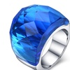 Anillos Big Crystal Stainless Steel Stone Ring