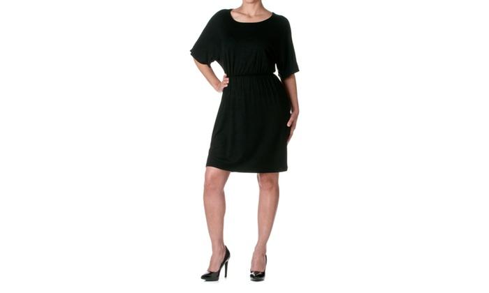 Azules Solid Rayon Mini Elastic Waist Dress ADS8215RS-1