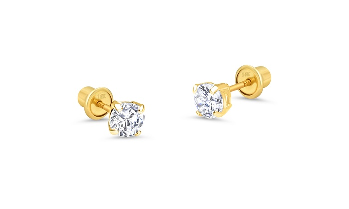 6MM 14k Yellow Gold Childs Flower Post Earrings w//Gift Box