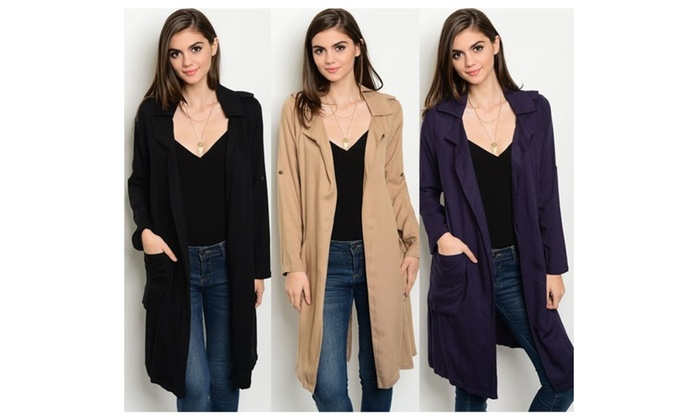 Autumn Long Sleeve Open Front Trench Coat
