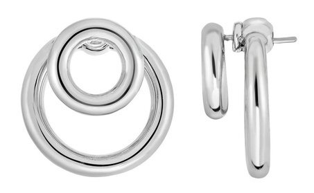 Silver with Rhodium Finish 4x24mm Shiny Round Post Drop Earring 8b851cb2-d052-436c-8db8-53a877c12b4f