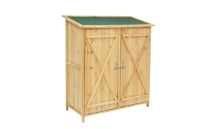 Kinbor Wooden Garden Shed Outdoor Tool Storage Double Door U0026 Chair ...