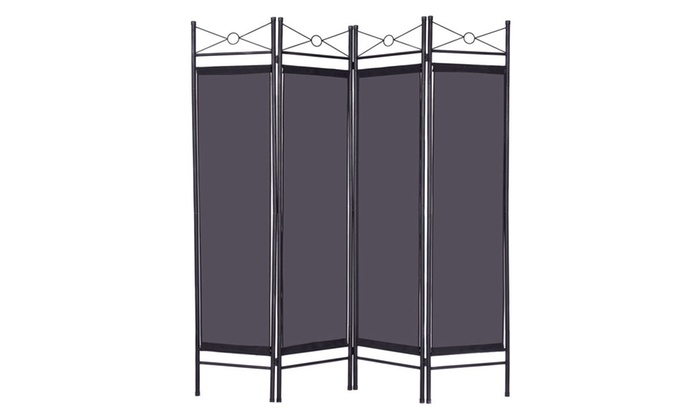 Costway Black 4 Panel Room Divider Privacy Screen Fabric Metal