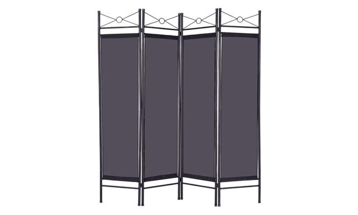 Black 4 Panel Room Divider Privacy Folding Screen Metal Frame