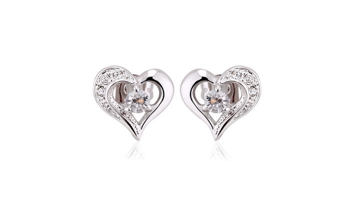 1 00 Cttw Lab Created Diamond Heart Stud Earrings