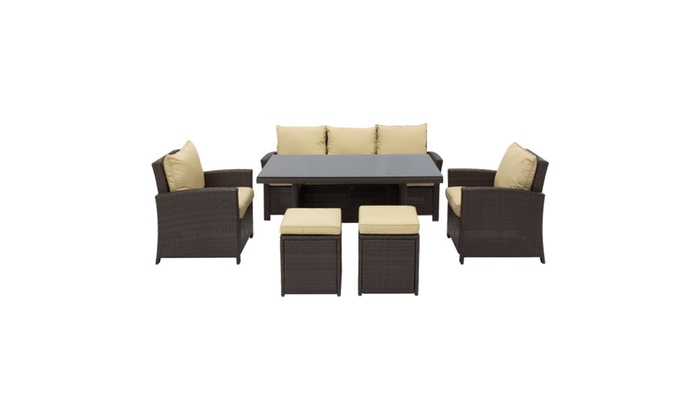 Complete Outdoor Living Patio Furniture 6 Piece Wicker Dining Sofa Set
