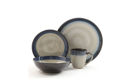 Gibson Couture Bands 16-Piece Dinnerware Set, Blue and Cream photo