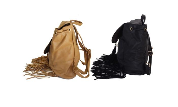 Women's Large Faux Suede Fringe Tassels Backpack  Black Camel