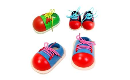 1 Pcs Random Kids Educational Wooden Toys Toddler Lacing Shoes 324069e6-56ce-4e4c-8082-da713132413f