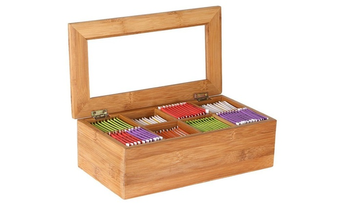 ... Estilo Bamboo Tea Storage Box, 8 Equally Divided Compartments