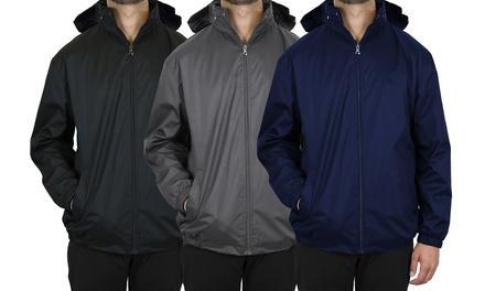 Men's Lightweight Fleece-Lined Windbreaker Jacket With Tuck Away Hood (S-2XL)