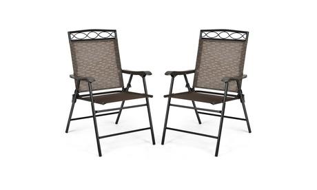 Costway 2PCS Folding Chairs Patio Garden Outdoor w/ Steel Frame Armrest Footrest
