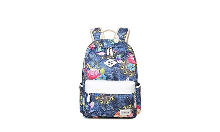 Dekoom Stylish Floral Canvas Girls Bookbag School Backpack for Teens