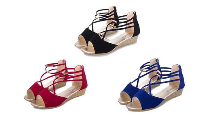 Women's Open Toe Wedges Girls Platform T Strap Sandals Shoes