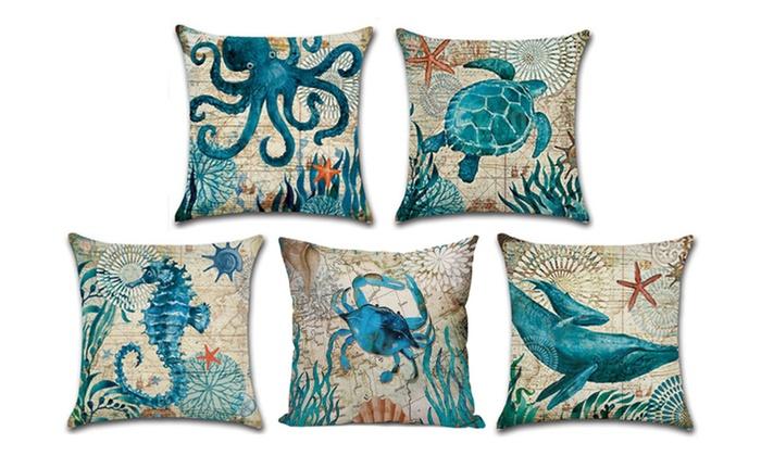 Ocean Theme Cotton Linen Throw Pillowcase Cover Home Decor
