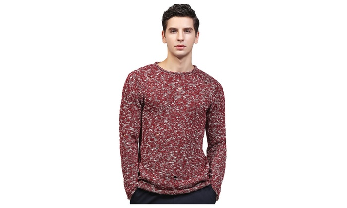 Men's Casual Crew Neck Ripped Pullover Sweater