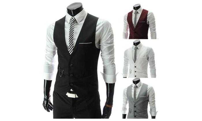 Men's Slim Fit Business Dress Suit Lightweight Jacket Vests Waistcoat