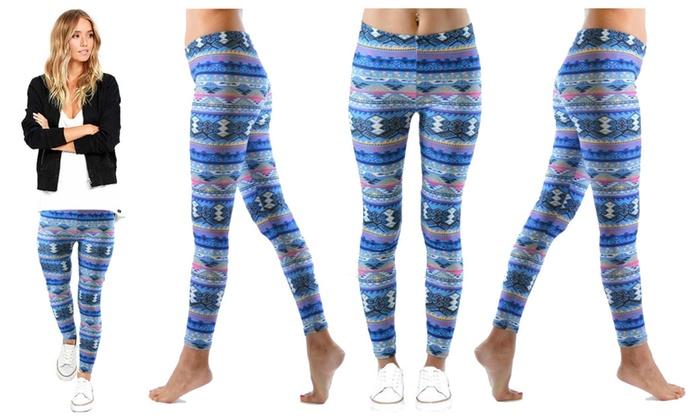Blue Aztec Print Leggings